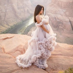 New Arrival Bridal Ruffled Tulle Robes Women Jackets Maternity Dressing Gowns Long Sheer Party Dress Photo Shoot Custom Made