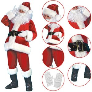 7pcs Santa Claus Suit Plush Father Christmas DIY Costume Xmas Polyester Velvet Fancy Dress Cosplay
