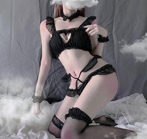 Kawaii Women Underwears Brief Set Lovely Cartoon Bra Lingerie japanese lingerie sexy sex skirt Sexy Cat Pierced whitout socks
