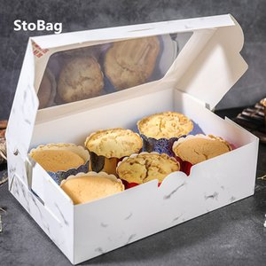 StoBag 10pcs Cupcake Box With Window Bread Cake Boxes And Packaging Patisserie Wedding Birthday Party Cookies Baby Shower DIY 201029