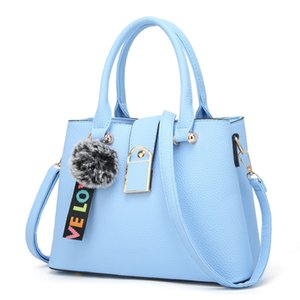 Hot Sale Handbag simple hair ball pendant one-shoulder bag Korean version of the fashion women's bag fashion lychee-print stiletto bag