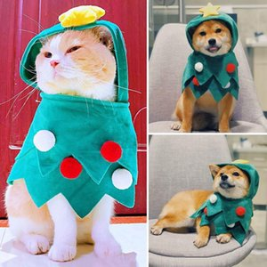 Cat Christmas Clothes Green Christmas Tree Cloak New Year Soft Coat Jackets for Outing Cute Cartoon Cat Costumes For Winter