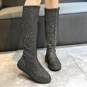 Sequins Socks Women's Boots Slip-On Knee-high Boots for Women Chunky Platform Botas Mujer Rubber Fashion Long High Autumn