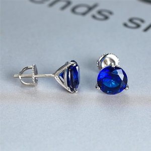 Luxury Female 6 7 8mm Natural Blue Sapphire Stone Earrings Real 925 Sterling Silver Earrings For Women Small Screw Stud