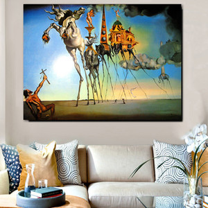 Salvador Dali Abstract Art Horse Elephant Oil Painting on Canvas Posters and Prints Cuadros Wall Art Pictures For Living Room