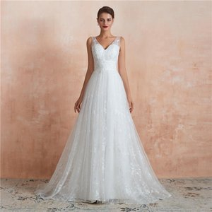 2021 New Lace A-Line Wedding Dresses V Neck Appliqued Sleeveless Bridal Gowns Floor Length Garden Wedding Dress