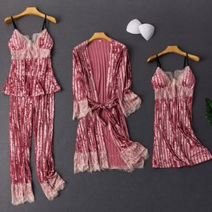 2020 Autumn Winter Women 4pcs Pajamas Sets Velvet Night Suit Sexy Lace Nightwear Female Home Clothing Stripes Sleepwear Homewear