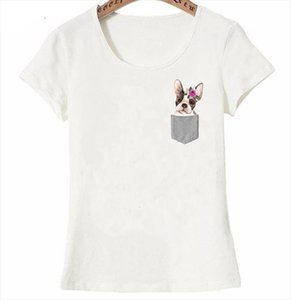 The French bulldog Pocket Print T Shirt Summer Fashion Womens Short Sleeve Cute Girl Casual Tee Watercolor Dog Art Female Tops