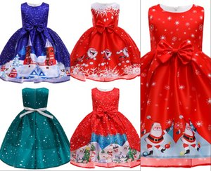 Girl forging snowflake print bowknot tail Christmas dress cute princess stage costume children clothing