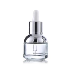 30 ml de cristal de la botella de suero perla blanco transparente cosmético de aceite esencial embalaje envasado gotero con plástico gwd3683