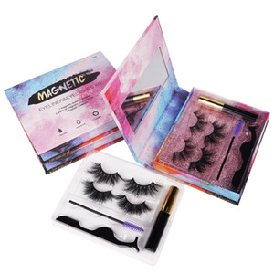 2 Pairs Magnetic Lashes Eyeliner Eyelashes Set 25mm Mink Magnetic Eyelashes Luxury Magnetic Volume Easily Wear Dramatic Beauty Makeup