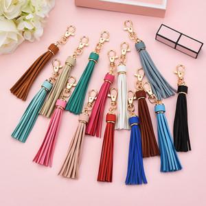 PU-Troddel-Schlüsselanhänger lange Quaste DIY Gepäck Zubehör Auto Keychain Leder Tassel-Partei-Geschenk 22 Farbe XD24180