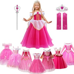 MUABABY Girls Aurora Princess Costume Children Drop Shoulder Sleeping Beauty Pageant Party Gown Halloween Fancy Dress Up Clothes F1130