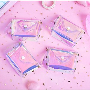 Transparent Laser Coin Purse Women Lady Mini Wallet Rope Children Key Card Tote Bags Square Snap Button Waterproof 2 4qh G2
