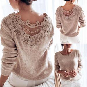 Maglioni da donna inverno pullover elegante pizzo backless manica lunga maglione maglione maglia maglione femminile donne vestiti da donna