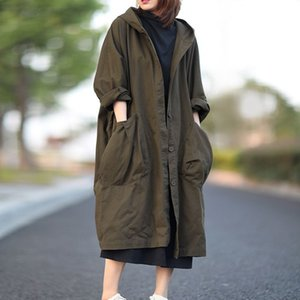 Johnature Autumn New Loose Plus Size Hooded Single Breasted Windbreaker Simple Casual Solid Color All-match Women Long Coat 201125
