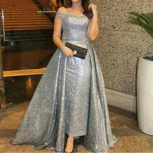 Elegant Silver Off The Shoulder Sequins Long Evening Dresses 2019 Ruched Over Skirts Floor Length Formal Prom Party Dresses