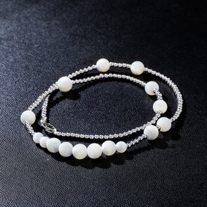 Men Women Stainless Steel Chain Necklaces Fashion Clavicle Chain Necklace Elegant Hip Hop White Pearl Necklaces