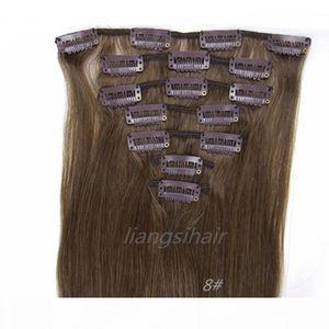 "Malaysian Hair Bundles 8# Chestnut Brown 15""-26"" 7pcs Brazilian Peruvian Indian Malaysian Virgin Remy Human Hair Clip in Hair Exte"