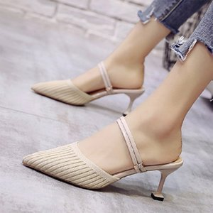 Hot Sale-Stretch Knitting Slippers High Heels Dress Shoes 2020 Summer Autumn Women Shoes Rhinestone Slip on Sandals Square Thin Pumps