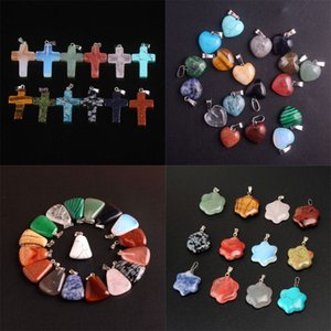 New Silver Color Natural Stone Cross Heart Pendant Necklaces Statement Chokers Quartz Healing Crystal Jewelry With Chain