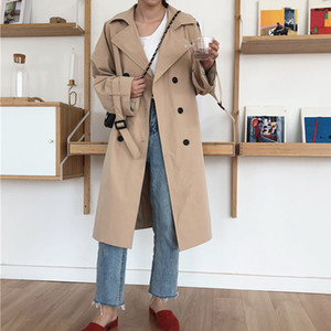 Women's Khaki Belt Long Trench Coat Female Turn-Down Collar Double Breasted Trenches Casual Autumn Winter Office Lady Outwear 201125