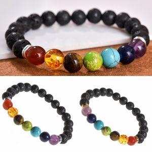 Natural Stone Lava Beads Bracelet 7 Chakra Elastic Charm Bangle Essential Oil Diffuser Bracelets for Men Women Fashion Jewelry Kimter-B297F