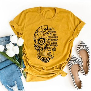 Skull Flowers They Whispered To Her Printing T shirts Women Summer Clothes Graphic Tee Aesthetic Shirts for Women Goth Crew Neck