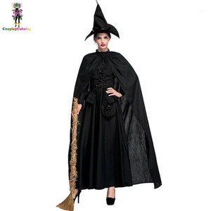 Plus Size Classic Black Halloween Sexy Bewitched Witch Woman Costumes Darling Spellcaster Costume Female Gothic Dresses1
