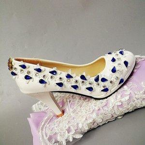 9 см Высокие каблуки Royal Blue Crystal Rhinestones Bridal Wedding Party Parts Обувь для женщин Роскошные Универсальные Обувь Кружева Кружева для Женщины Для Женщины