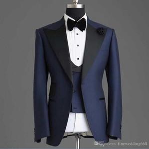 Hübscher Button Groomsmänner Schal Revers Bräutigam Tuxedos Männer Anzüge Hochzeit / Prom Bester Mann Blazer (Jacke + Hose + Weste)