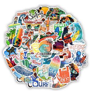 50Pcs Lot Outdoor Surfing Stickers Summer Sports Tropical Beach Surfing Waterproof Stickers to DIY Surfboard Car Skateboard Sticker