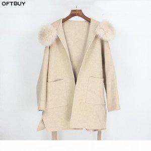 OFTBUY 2020 Real Fur Coat Winter Jacket Women Loose Natural Fox Fur Collar Cashmere Wool Blends Outerwear Streetwear Oversize