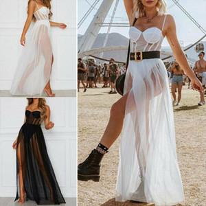 2021 New Women Summer Mesh See through Long Maxi Dress Ladies Fashion Sexy Evening Party Beach Sundress