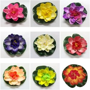 10cm Real Touch Artificial Lotus Foam Flowers White Water Lily Floating Pool Plants For Wedding Garden EVA Decoration