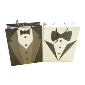 HAOCHU 10pcs lot Full Dress Formal Dress White and Black Style Hand Bag Candy Chocolate Box Paperboard Wedding Anniversary Party