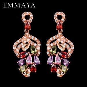 Люстра свисают люстра Эммая роскошь CZ Ювелирные изделия висит падение многоцветных камней вечерняя вечеринка блестящие серьги для женщин