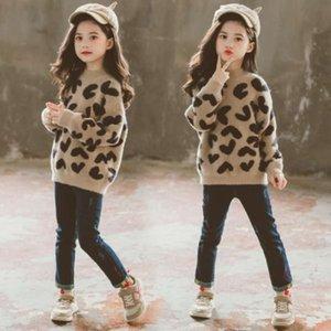 Autunno addensato e inverno leopardo delle ragazze che stampa il maglione di cachemire del cassock-medio del mezza colletto alto dei bambini