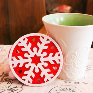 2Pcs Christmas Decoration Cup Pad Bar Dining Room Snowman Deer Xmas Tree Desk Accessories for Teen Girls for Bedroom Home Decor