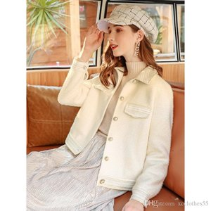 2019 High-end women s short coat winter new pure wool coat short Short woolen jacket fashion bright and slim with commuter SIZE XS-L