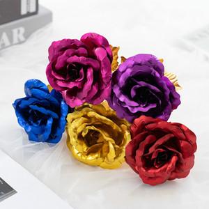 24k foglio placcato oro rosa oro rosa dura Forever love wedding decor amante rosa casa decorazione del partito fiore regalo creativo