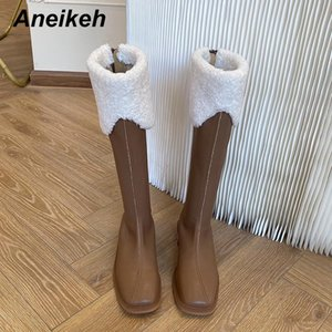 Aneikeh 2020 NEW Shoes For Women Winter Fashion Elegant Patchwork Lamb Leisure Hair Sewing PU Knee-High Riding, Equestrian Boots