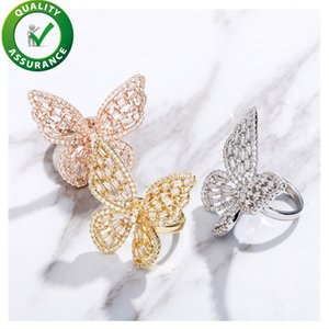 Luxury Designer Ring Women Engagement Wedding Jewelry Iced Out Rings Diamond Cubic Zirconia Butterfly Fashion Hip Hop Girl Love Rose Gold