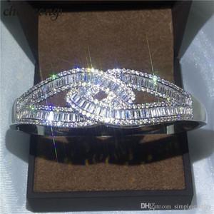 Choucong 크로스 디자인 팔찌 다이아몬드 S925 스털링 실버 약혼 결혼식 팔찌 여성용 선물 패션 액세서리
