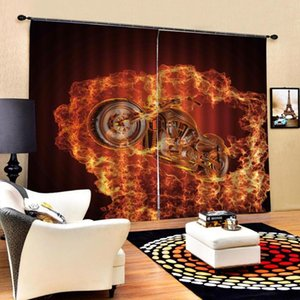 Custom curtains Flame car Photo Printing Blackout 3D Curtains for Living Room Bedding Room Hotel Drapes Cortinas