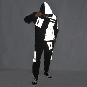 Hip Hop Costumes Adults Fashion Reflective Fabric Top Pants Jazz Performance Clothing Street Dancewear Stage Rave Outfit DN5043