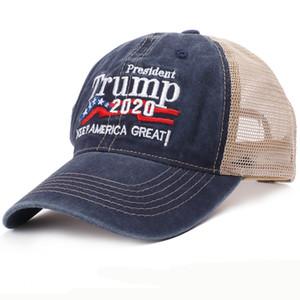 Men Women Summer Hat Trump 2020 Hat Baseball Cap Keep America Great Embroidery Army Trucker Mesh Cap Cotton Baseball Hat LJ200916