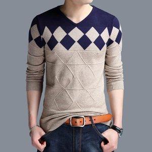 Automne motif à carreaux de tricot à carreaux décontractés mince pull-ovover Hommes Col en V Prier-vêtements plus Taille 4xl Sweater Hombre Angleterre Style