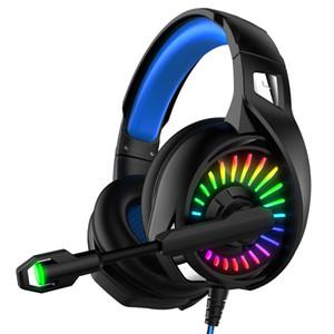 Casque de jeu avec micro 3,5 mm RGB LED lumière Compatible pour les téléphones portables PC