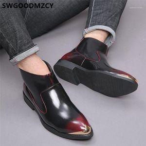 Stiefel italienische Leder Coiffeur Plus Size Shoes Herren Kleid Knöchel Mode Designer Buty1